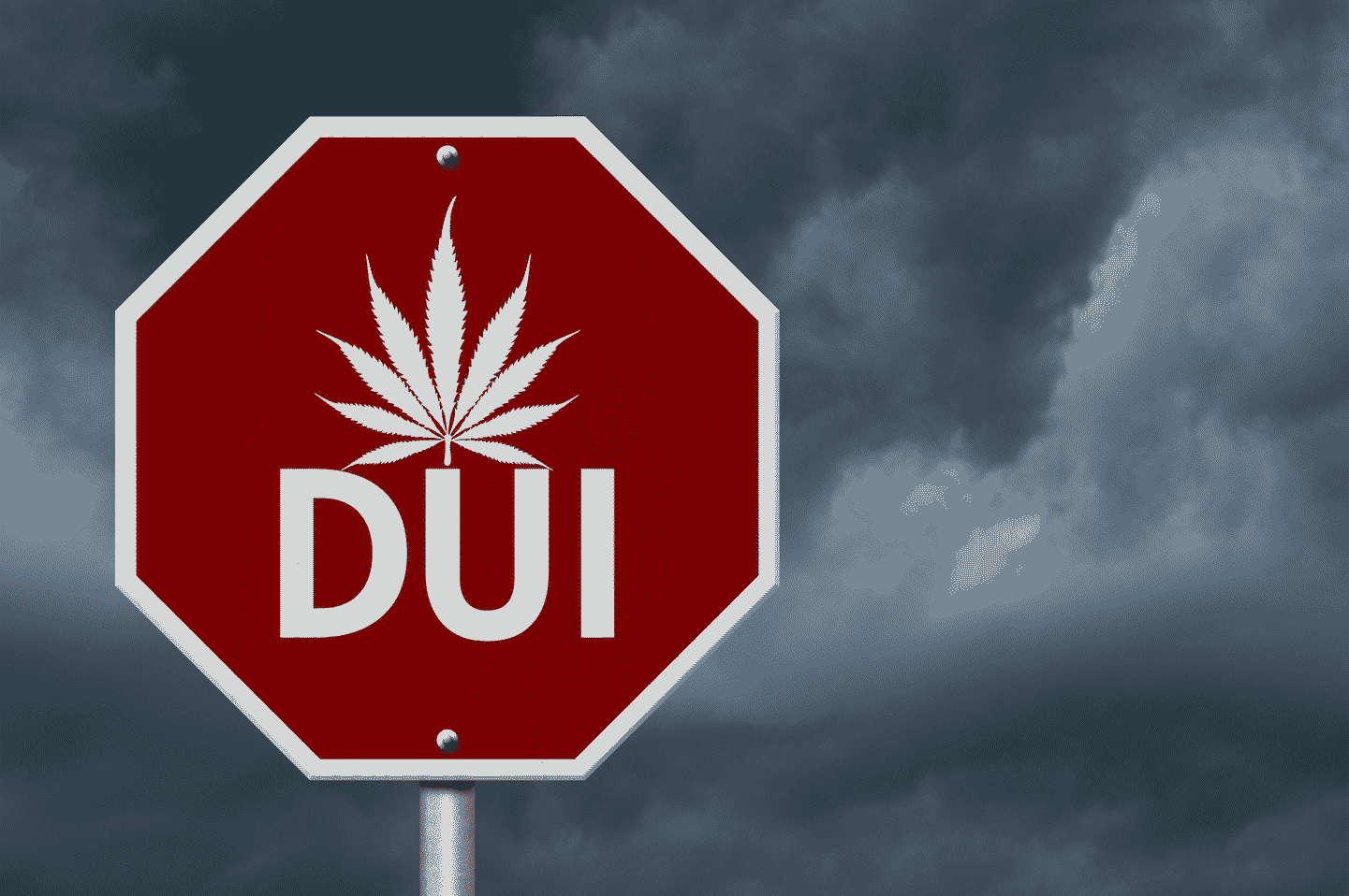 "A stop sign that reads ""DUI"" with a medical marijuana leaf graphic"