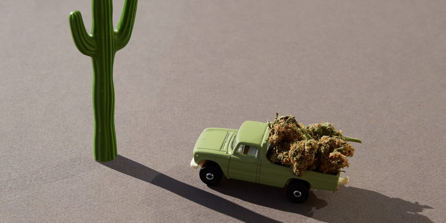 A toy car filled with cannabis to representing traveling with marijuana